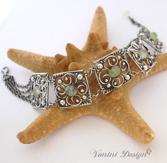 SALE-35% OFF-Five Elements-Fine/Sterling Silver and Prehnite bracelet