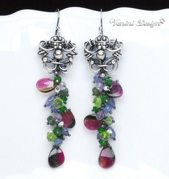 RESERVED - Bouquet-Fine999 silver,Watermelon Tourmaline slices earrings