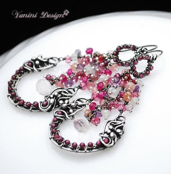 RESERVED for Elizabeth -Fresh Rosy-Fine/sterling silver,rhodolith garnet,rose quartz,ruby,sapphires chandelier earrings