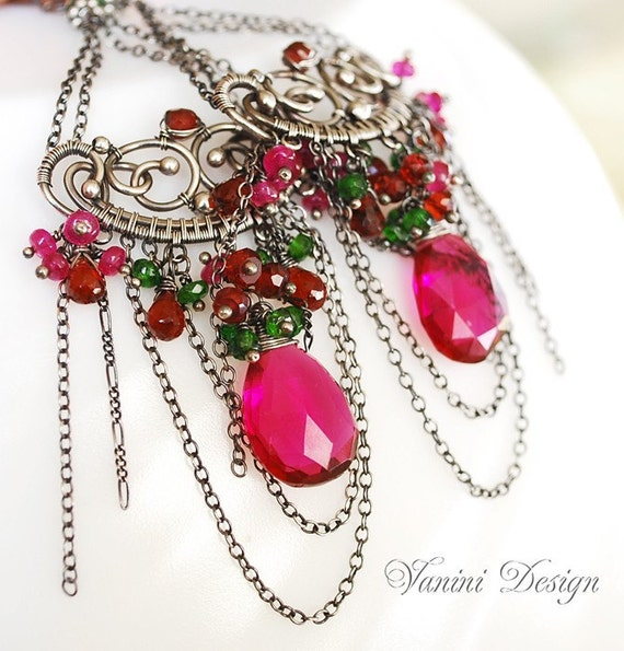 Victoria-Fine/sterling silver,Raspberry Pink Quartz,Chrome Diopside,pink ruby and red garnet chandelier earrings