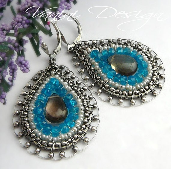 SALE - 20 Percent OFF- Starlight-Sterling silver,neon blue apatite,smoky quartz and pearls teardrop earrings