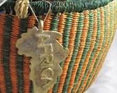 Sale - African Bolga Market Basket - Large Round - with Bonus Africa Pendant - Fair Trade - Green and Orange Stripes