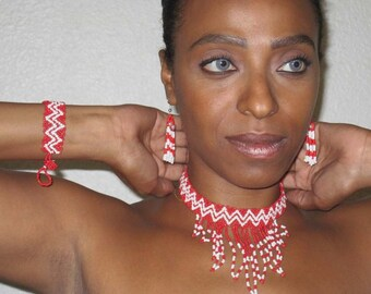 African Necklace, African Bracelet, African Earring Set African jewelry Beaded Zulu Cascade Set Sandoodles
