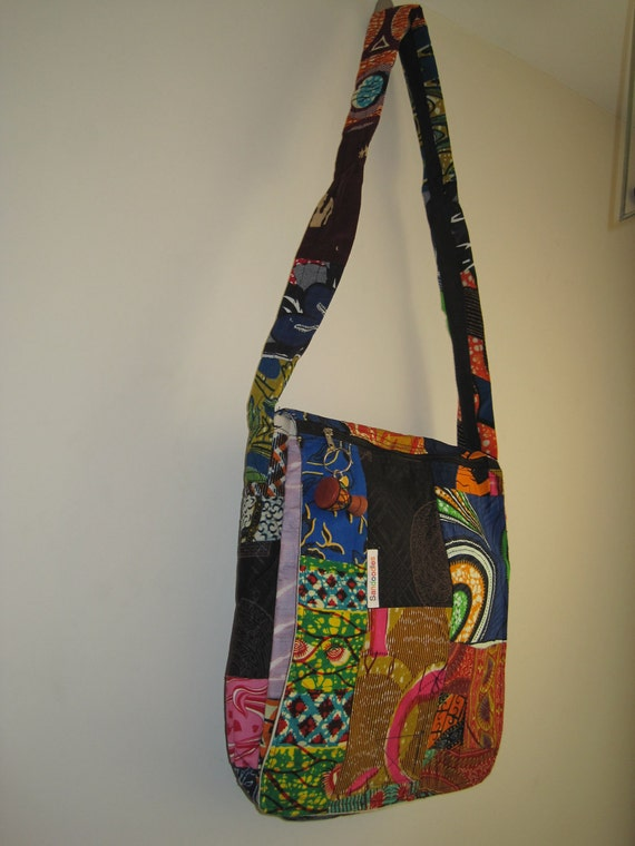 Sale - African Messenger Bag Purse African Patchwork OOAK Fair Trade