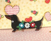 Dachshund black and tan with flowers Pin with Dimension oh so sweet
