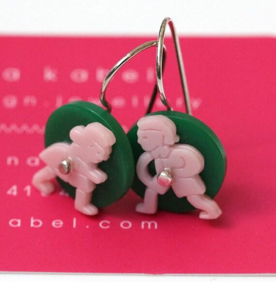 Last Pair - Earrings, Recycled Jack and Jill Sterling Silver SALE