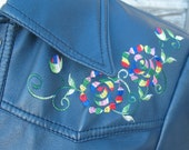 1970s Vintage Vinyl JACKET - Rainbow embroidery 1970s Fashion, Women SMALL blue western pearl snap jacket 1970s Pride rainbow clothing