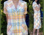 Vintage 1970s MOD Pastel Rainbow plaid Suit 2 piece Aline skirt jacket short sleeve - 1970s dress office fashion spring fashion