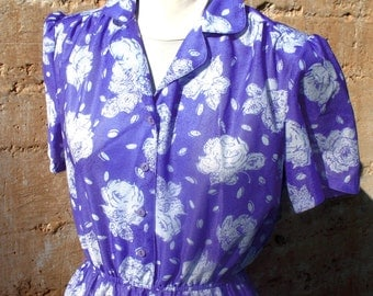 Vintage 1980s  Day DRESS - sheer lavender floral dress - MEDIUM Puff sleeve 1940s style dress 1980s fashion purple white Spring Fashion