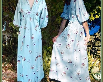 1970s Vintage Maxi Dress deep V  neck - SMALL Med - Mod vintage empire dress pale vintage ice blue floral print dress blue 1970s  Maxi Dress
