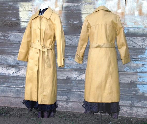 1970s Vintage Vinyl Trench Coat - 1970s Fashion harvest gold Argo trench coat PVC disco 70's belted Medium womens coat 8 - 10