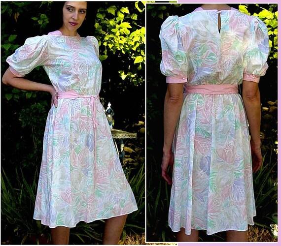 Vintage 1980s Dress - Puff Sleeve dress PINK  AQUA Pineapple floral print dress spring fashion - Medium vintage Easter Dress