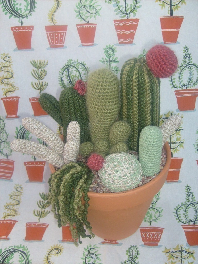 Pattern Large Crocheted Cactus Garden With 7 Different