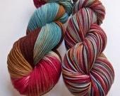Hand Painted 2-Ply Superwash Merino and Nylon Sock Fingering Yarn -- NCIS DUCKY