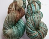 Hand Painted Superwash Merino and Bamboo Sock/Fingering -- Sand and Sea Glass (Lighter)