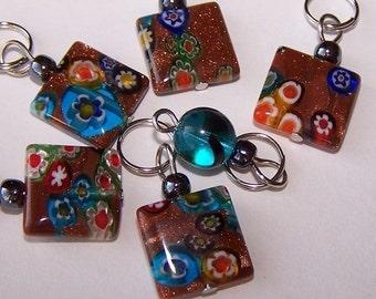Hand Made Stitch Markers  --  Sparkly Copper or Goldstone Style  Millefiori Glass Squares