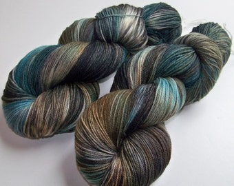 Hand Painted Ultra Merino Superwash Sock Fingering Yarn -- Tut Tut it Looks Like Rain