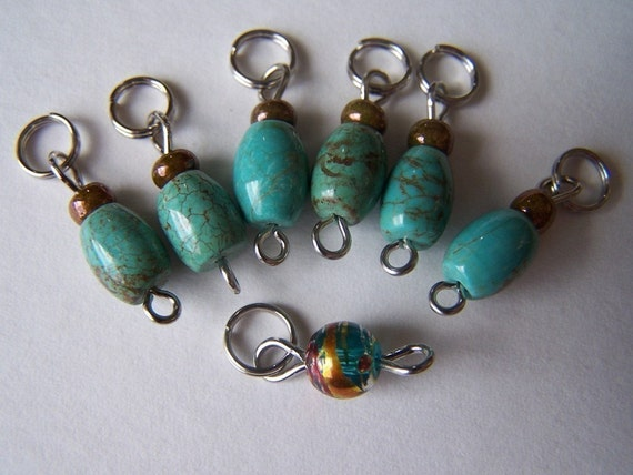 SJK Tinies -- Delicate Stitch Markers for Small Needles -- Genuine Turquoise