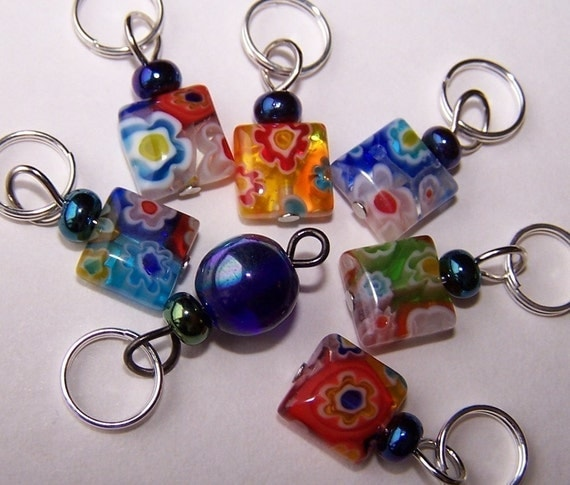 SJK Tinies - Delicate Stitch Markers for Smaller Needles -- Millefiori Glass Squares  (size small)