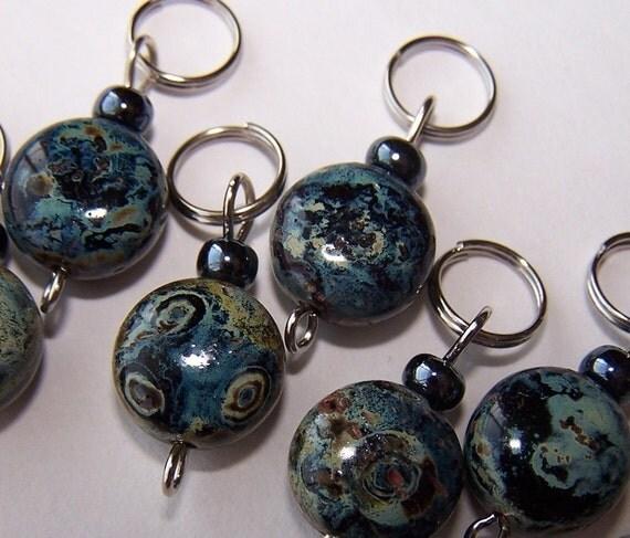 Hand Made Stitch Markers -- Cosmic Love (Czech glass)