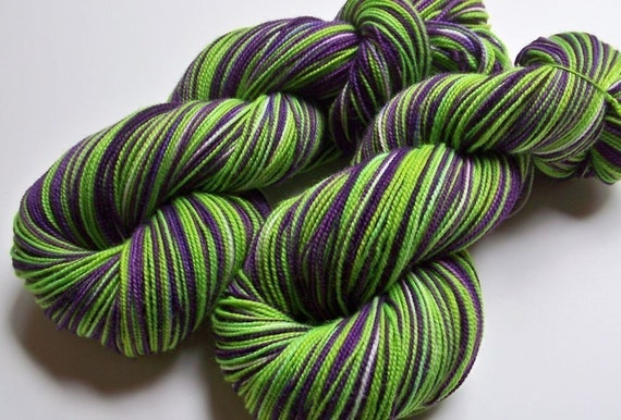 Handpainted Superwash Merino and Nylon 2ply Sock/Fingering -- Frankenstein (Striping)