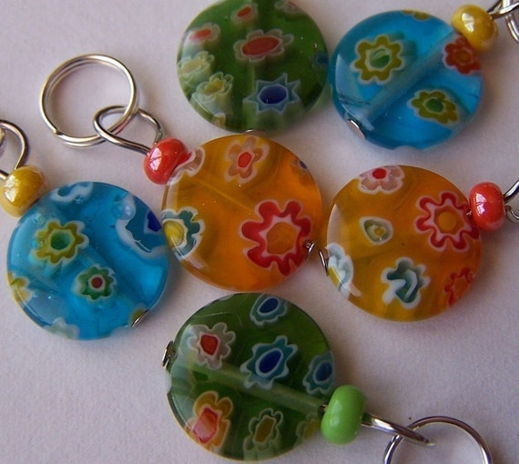 Hand Made Stitch Markers Plus a Mystery Marker  --  Millefiori Glass Coins (Summer Assortment)