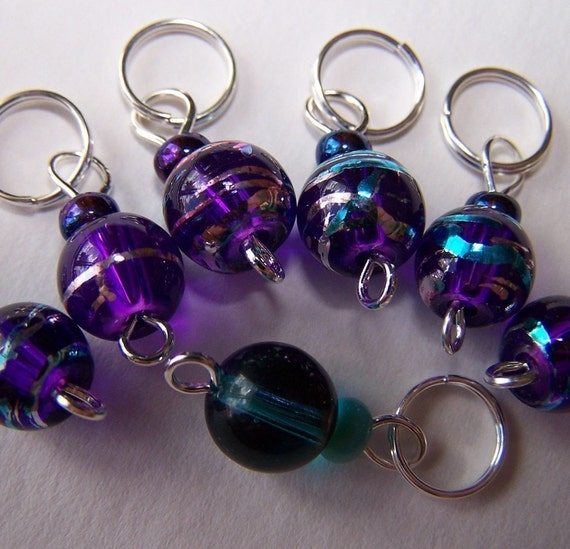 Hand Made Stitch Markers -- Purple Jupiters