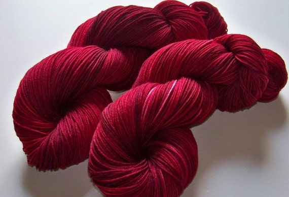 Hand Painted Superwash BFL/Nylon 4-Ply Sock Yarn -- CranBerry