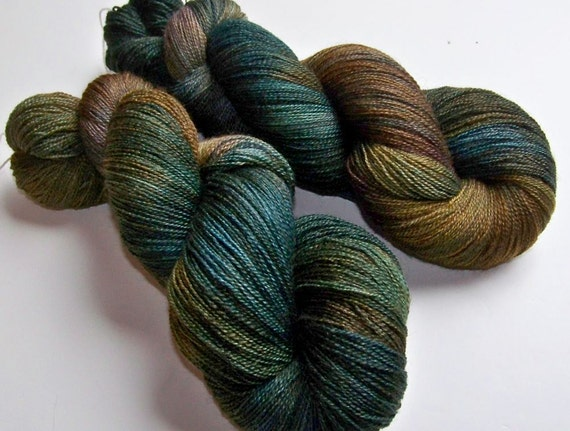 Hand Painted BFL and Silk Lace Weight -- Oil Slick Extra Spruce (100g-875yds)