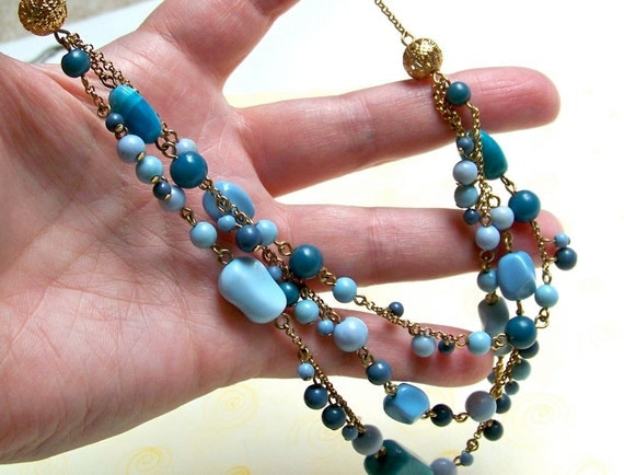 VINTAGE Deal or MORE Deal SALE-- Avon Signed Faux Turquoise and Blue Stranded Necklace (1970's-80's)