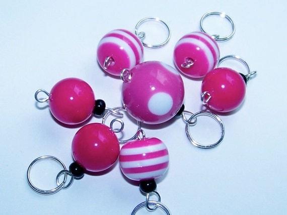 Hand Made Stitch Markers -- Pink Bubblegum