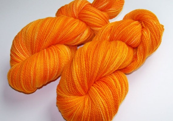 Reserved for CW -- DISCOUNT 20% Off -- Hand Painted Merino 2-Ply Sock/Fingering (NOT Superwash) -- Marigold