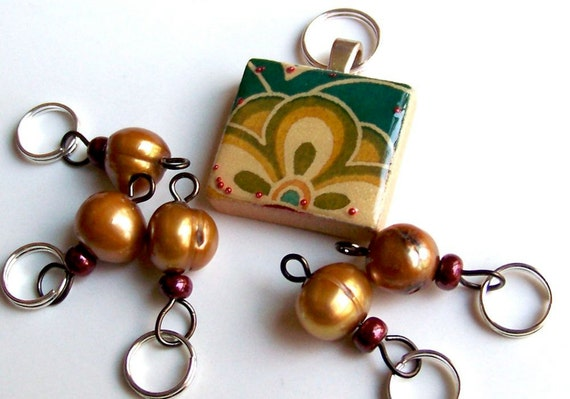 Special Stitch Marker Set -- Scrabble Tile plus Markers -- Gold, Green and Pearls