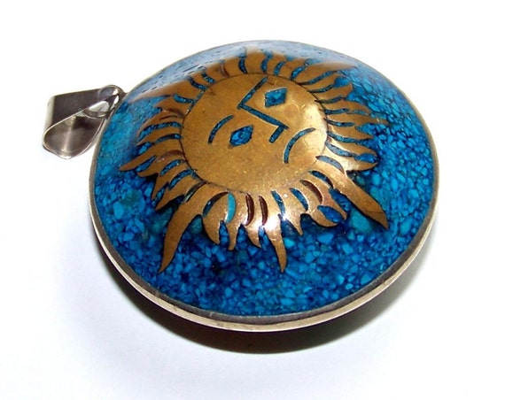 SJK Vintage -- Mexican Sterling Aztec Two Sided Pendant Medallion Mixed Metals Sun (1950-1970)