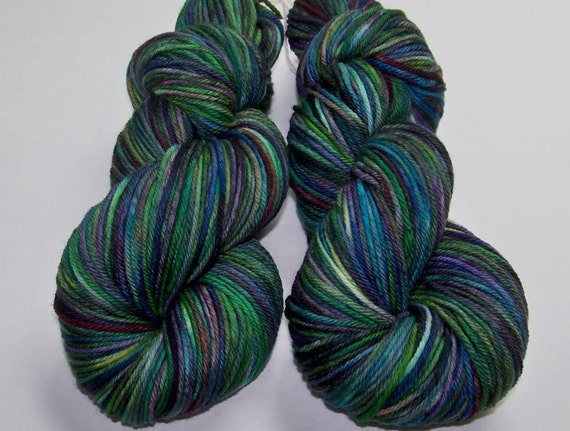 Hand Painted Superwash Merino Worsted -- Melted Popsicle Puddle (Batch-C)