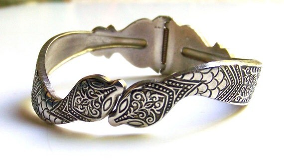 Reserved for Alina -- SJK VINTAGE -- Antique Silver Repousse Double Headed Snake Clamper Bracelet -- Egypt Revival (1960's-70's)