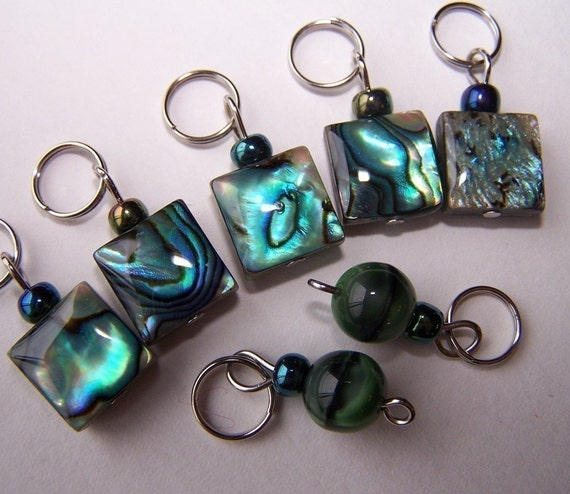 Hand Made Stitch Markers -- Abalone Squares