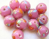 Vintage Japanese opaque pink glass millefiori handmade beads 8mm rounds (10)