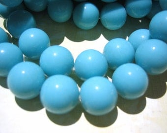 Vintage beads (20) turquoise blue opaque glass rounds beads Japan Cherry Brand  6mm (20)