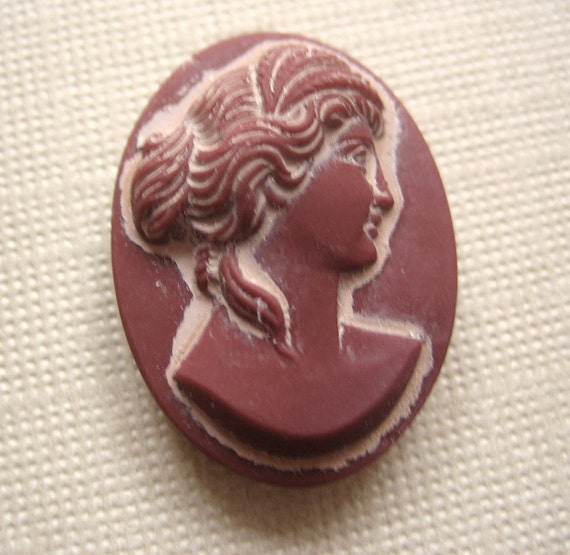Vintage cameo glass matte opaque carved glass cameo West German 25 x 18mm