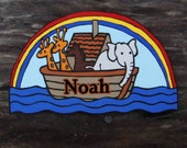 Personalized Name Sign Noah's Ark Hand Painted Wooden Plaque