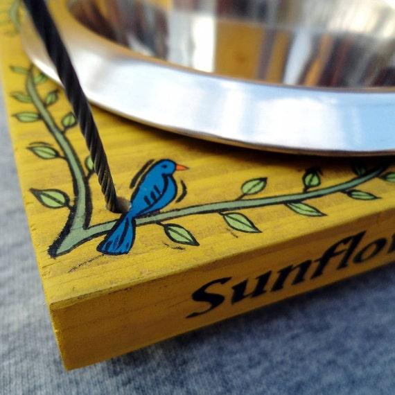 Bird Feeder with Single Removable Bowl, Hanging Bird Feeder, Seed Feeder, Yellow, Wood, Spring Decor