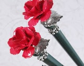CUSTOM ORDER for sakuramoon08- Silent Roses Hair Sticks