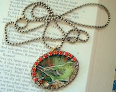 50% off Pretty Bird Art Pendant Necklace Mixed Media one of a kind