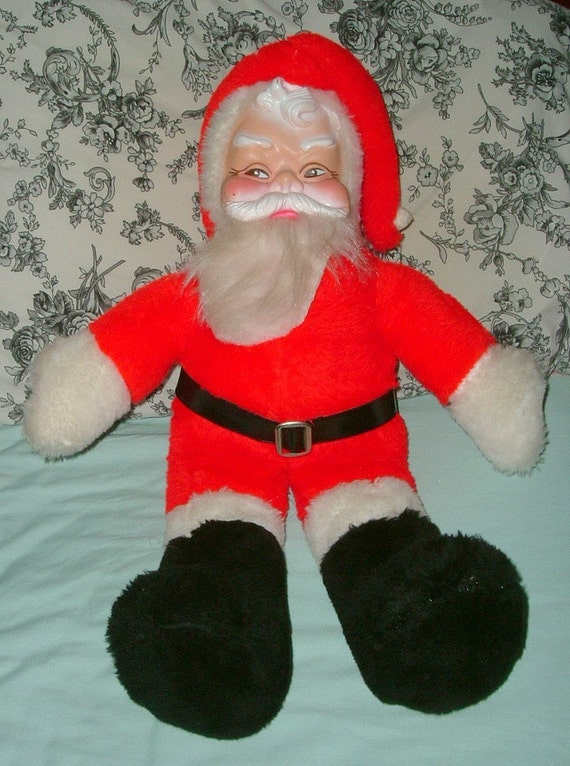 Vintage Stuffed Plush Santa Doll With Vinyl By