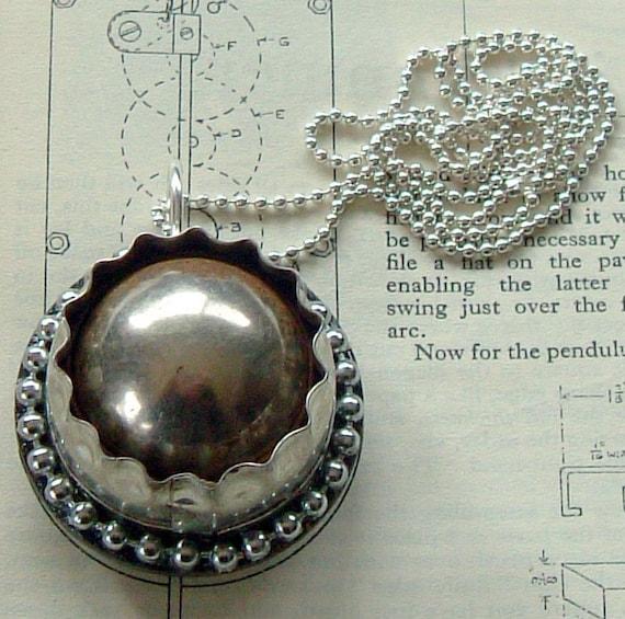 Industrial Dieselpunk Steampunk Robot Eyeball Pendant Necklace