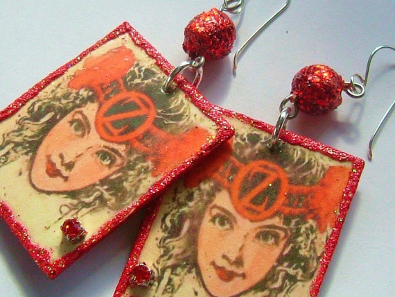 Wizard of Oz Earrings Princess Ozma Handmade Decoupage Art Nouveau with Glitter and Rhinestones