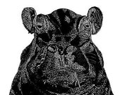 Portrait of a Hippo (large) Limited Edition Print