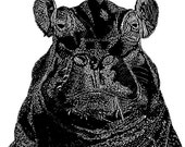 Portrait of a Hippo (medium) Open Edition Print