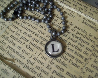 L Initial Pendant Faux Typewriter Key with Ball Chain Necklace